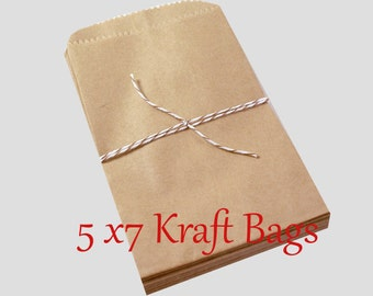 50 MEDIUM Kraft brown paper bags 5 x 7 inch - Packaging, Wedding Favors, Merchandise Bags, Gift Wrapping   Bridal Shower   Birthday