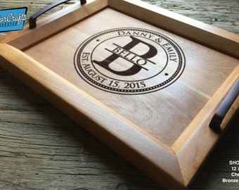 Personalized Wood Tray, Engraved Serving Tray - Wedding Gift, Housewarming Gift, Anniversary Gift