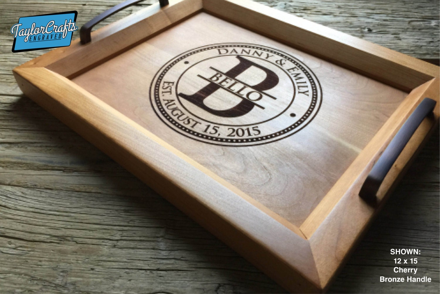 personalized wood tray engraved serving tray wedding gift