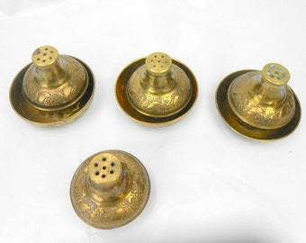 Vintage brass salt and pepper shakers made in India tooled brass s&p shaker with salt celler