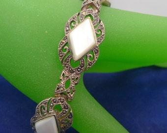 "Vintage 7.5"" Bracelet : Sterling Silver Marcasite Diamond Shape MOP Mother of Pearl"