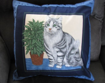 American Shorthair Cat pillow Cover 16 x 16 Gray Blue Travel Country Home decor