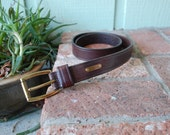 Vintage Medium Ralph Lauren Belt Thick Quality Leather Belt Classic Brown and Gold High Wasted Boho Hipster Hippie Preppy Spring Fashion