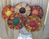 Primitive Fall Fabric Flowers - Plant Pokes - Autumn Fabric Grungy Bouquet - Set of 5 - Country Home Decor - Fall/Autumn Decor