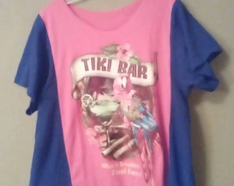 Tiki Bar lagenlook/ boho top/ uncycled/ refashioned/ resort/ tropical/ black/ red