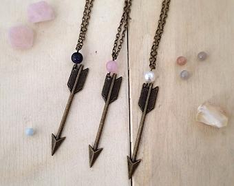 Bronze Arrow Charm Necklace, Gemstone Necklace, Arrow Pendant, Arrow Necklace, Arrow Jewellery, Bronze Arrow, Long Arrow Necklace, Teenager