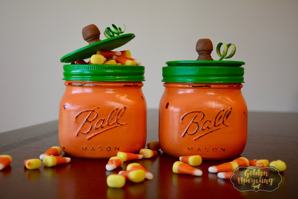 Decorating Ideas > Pumpkin Mason Jar Thanksgiving Decor By GoldenUpcycling On  ~ 133107_Thanksgiving Jar Decorations