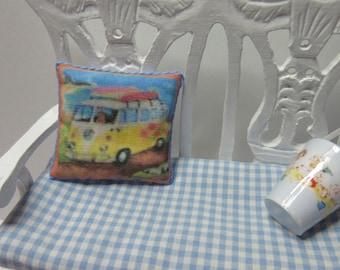 Dollshouse Miniatures. Cushion Pillow. Camper Van Design