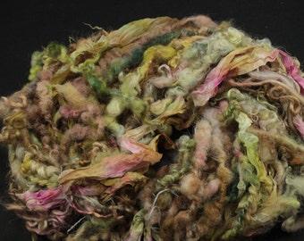 Art yarn bundle, handspun art yarn, locks, fleece,  handdyed silk ribbon for creativity, 3.3 oz