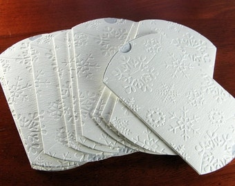 SALE White Christmas Boxes with Snowflakes (Set of 5) - Small Size Pillow Boxes - Gift Packaging