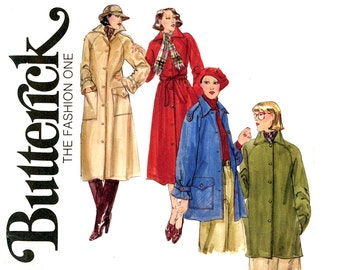 1970s Womens Coat Pattern Bust 38 Uncut Butterick 5078 Lined Raglan Sleeve Rain and Shine Trench Coat Car Coat Jacket Vintage Sewing Pattern