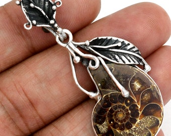 Very Beautiful Ammonite Fossil Pendant, 925 Silver with Organza Cord
