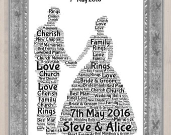 Wedding Couple Personalised Word Art Print A4 Print Wedding Present Wedding Gift Ideas