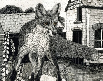 Greetings Card Fox in the Yard from Scraperboard original - Blank Card