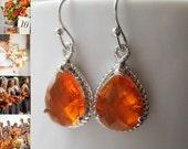 Orange Topaz Teardrop Earrings / Orange Glass Dangle / Orange Drop Earrings /  Bridesmaids / Wedding / 14K Gold Filled Wire / Bridal