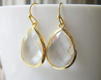 Clear Glass Earrings / Large / Drop / Bridesmaids / Gold  / Glass / Dangle / Teardrop  / Wedding / 14K Gold Filled Wire / Faceted / Sets