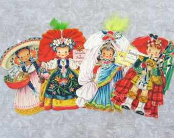 Hallmark Doll Cards Lot E 1940s (4 cards) - Dolls of the Nations - Mexico, France, India, Scotland