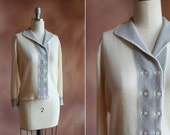 vintage 1950's cream & grey stripe cashmere cropped cardigan / size s - m
