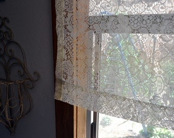 "Lace Curtain Panel Vintage White Window Curtain Floral Lace Curtain 38"" Wide x 30.5"" Long"