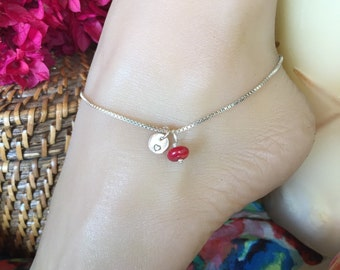 Special Sterling Silver box chain Anklet with monogrammed tag & colorful bead. 10 inch chain. Stamped initial ankle bracelet