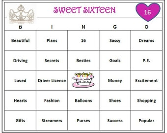 Sweet 16 Birthday Party Bingo Game (60 Cards)  Fun and Easy to Play! Celebrate Your Teen!