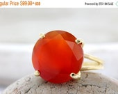 VALENTINES DAY SALE - Carnelian ring,gold ring,orange red ring,gemstone ring,cocktail ring,statement ring,vintage ring