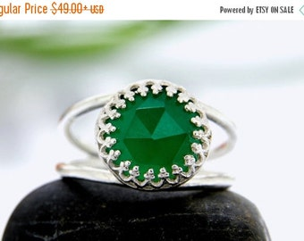SUMMER SALE - Green Onyx delicate ring,silver ring,small double band ring,gemstone ring,green ring,onyx ring
