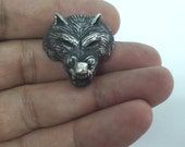 Wolf Pendant, Gift For Him, Cool Mens Gift, Wolf Necklace, Man Gift, Wolf Head, Solid Silver Wolf  Pendant Handcarved