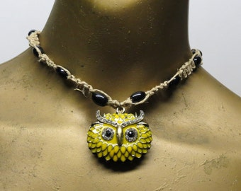 SALE Black and yellow owl choker necklace made with hemp. Long ties in back. HCK-327