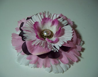 Fashion Flower Accessory, Pink White and Burgundy Flower Pin or Hair Clip