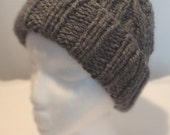 Charcoal Bulky Cable Hand-Knit Hat. Super soft, for men or women- Ready to be Shipped
