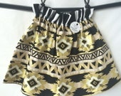 CLEARANCE Gold, Black and White Tribal Aztec Boutique Ruffle Waist Skirt