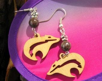 five dollar earrings, five dollars, Montana, wood earrings, bear earrings, spirit bear, jasper earrings, hypo allergenic