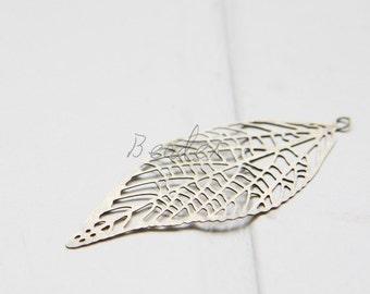 2 Pieces / Antique Base / Pendant / Charm / Filigree Leaf (C1935//G538)