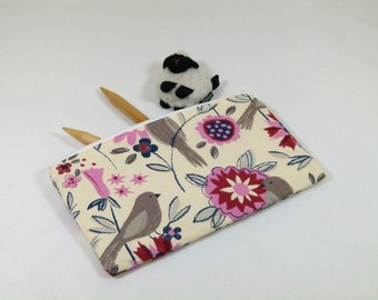 Knitting Project / Cosmetic Bag - Small Zipper Notions Bag in Flower/Bird Fabric with Beige / Gray Chevron Cotton Lining