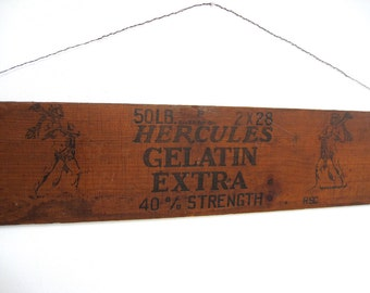 Vintage Wood Sign Wooden Salvaged Rustic Board Box Shipping Crate Advertising Hercules Gelatin Explosive Dynamite Man Cave Home Wall Decor