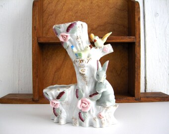 Vintage Ceramic Bud Vase Tree Stump Floral Table Centerpiece Bunny Rabbit Birds Pink Flowers Gold Gilt Cottage Chic Easter Spring Decor