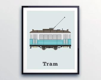 Decor for Toddlers Room, little boy prints, Tram Print, City vehicles, public transport, Transport Room Decor, Print for toddlers, city tram