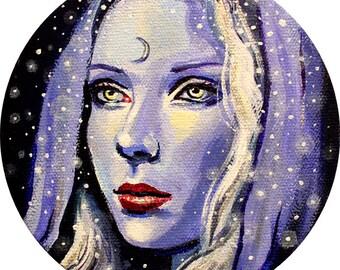 "12 x 12, Fine Art Print, ""Lune"", painting by Kamille Freske, moon goddess, celestial, pagan art, fantasy art, fairy art, faerie art"