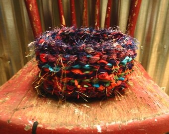 Crochet basket made with recycled clothing and novelty yarn..shabby chic..*.