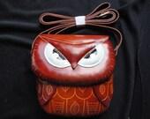 Vintage Hand Stamped Leather Owl Shaped Shoulder bag Handbag
