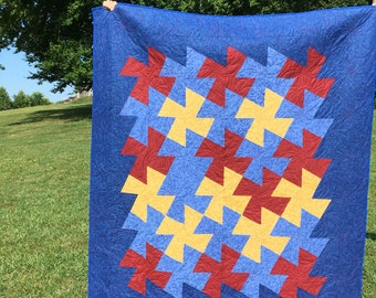 Patriotic quilt in Blue red and gold