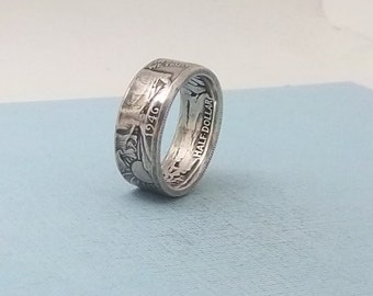 Unique Gift, Silver coin ring walking liberty half dollar 90% fine silver jewelry year 1946 size 12 1/2