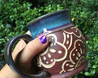 Flower Carved Mug