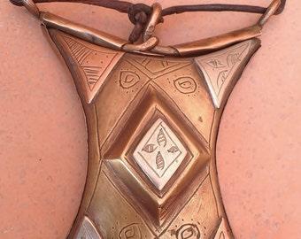 Rare Tuareg Amulet Tscherot, Gris-Gris Copper and Metal