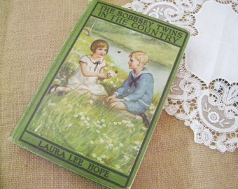 """Vintage Book """"The Bobbsey Twins In The Country"""" Copyright 1907, Charming Green Book Cover"""