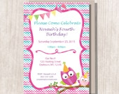 Instant Download - Pink Party Owl Birthday Invitation - Editable/Printable Invitation