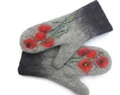 Felted Mittens Merino Wool Grey Shades Red Poppies