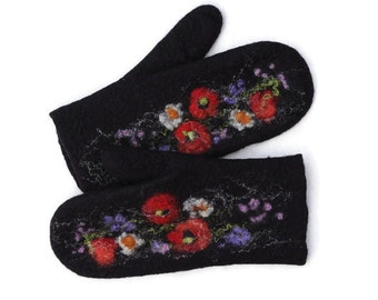Felted mittens Merino Wool Black Meadow flowers