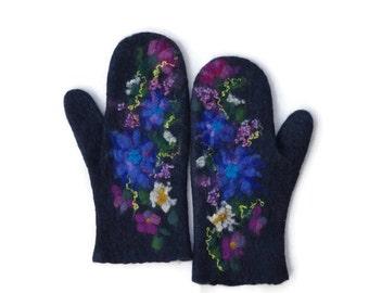 Felted mittens merino wool Navy blue Meadow flowers